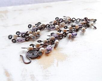 Pearl and Amethyst Bracelet, Dangle Bracelet, Copper Wire Jewelry, Cluster Bracelet, Bohemian Jewellery, Cascade Bracelet, Hand Forged Chain