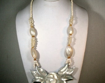 White Mother of Pearl Luminescent Flower Necklace, Long OxBone, MOP and Lucite Dramatic Bib, Bridal Beach White, 1980s