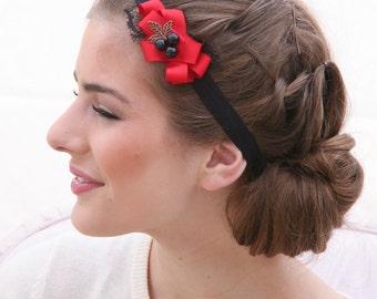 Black Elastic Headband with Red Ribbon and Beads, Bohemian Headband, Women Hair Accessory, Elastic Wrap Headband