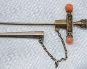 SALE Edwardian Etruscan Revival Sterling Silver & Coral Stick Pin Sword