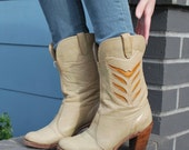 Vintage Boho Inlay Cowgirl Boots Size 6