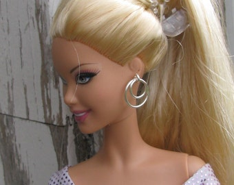 1 pair Double Hoop Earrings for Fashion Dolls 31 colors Made When Ordered 1/6th Scale