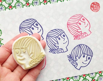merci stamp. boy hand carved rubber stamp.  thank you stamp. birthday thank you scrapbooking. gift wrapping. home stationery. holiday crafts