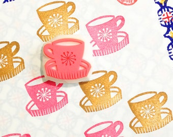vintage coffee cup stamp. hand carved rubber stamp. mid century design. home doctor. diy birthday. gift wrapping. card making. scrapbooking