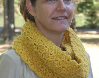 Gold Infinity Scarf - Crochet - Infinity Scarf- Lacy