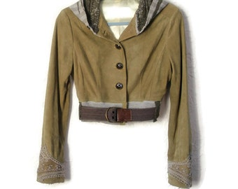 SALE upcycled clothing . XS - S . cropped suede hooded jacket