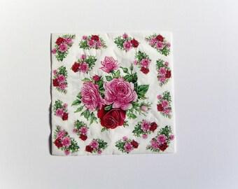 Pink Roses Napkin, Paper Napkin for Decoupage, Craft Napkin, Scrapbooking Napkin, Decoupage Paper Tissue