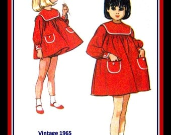 Vintage 1965-CHIC Smock Dress-Matching Bloomers-Designer Sewing Pattern-HELEN LEE-Shaped Yoke-Contrast Trim-Patch Pocket-Size 5-Mega Rare