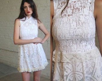 shadowplay -- handmade vintage lace mini dress with fringe XS/S