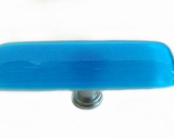 """Long Knob in Deep Turquoise Art Glass.  1"""" x 3"""" Fused Glass Knob or Drawer Pull"""
