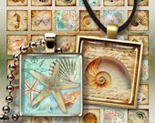 NAUTILUS - Digital Collage Sheet 1x1 inch and 7/8x7/8 inch size Printable images for square glass and resin pendants magnets bezel settings
