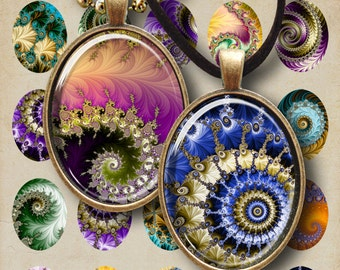 30x40 mm size images FRACTAL OVALS Digital Collage Sheet Printable download for bezel cabs and trays pendant settings ArtCult graphics