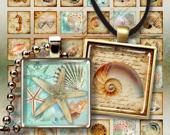 Printable images NAUTILUS Digital Collage Sheet 1x1 inch and 7/8x7/8 inch images for square glass and resin pendants magnets bezel settings