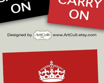 3 Large Digital Sheets KEEP CALM And CARRY On  Printable Instant Download Poster art  for home decor by Art Cult