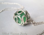 Amazonite and Sterling Silver Ball Pendant - Green Bead