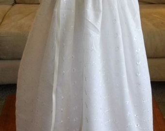 Ivory Eyelet Lace and Satin Ribbon lined Christening, Baptism, blessing Gown, dress