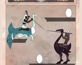 Joust Stela - Atari in Egyptian Art Illustration