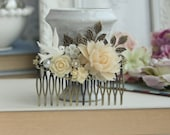 Ivory Rustic Wedding Comb, Bird and Rose Comb, Large Ivory Rose Vintage Inspired Comb, Roses Leaves Large Comb, Bridal Wedding Comb, Country