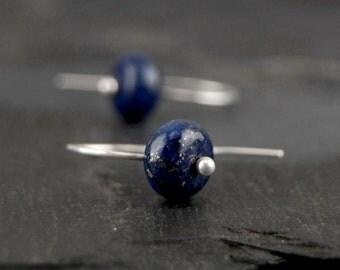 Lapis lazuli earrings with flecks of gold pyrite, sterling silver, small blue earrings, simple minimalist jewelry - Night Sky