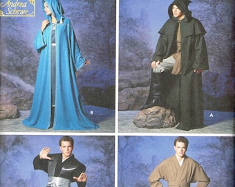 Medieval Hooded Cloak Star Wars Obi Wan Jedi Simplicity 5840 Sewing Pattern Size Mens Misses XS S M L Xl Chest 30 32 34 36 38 40 42 44 46 48