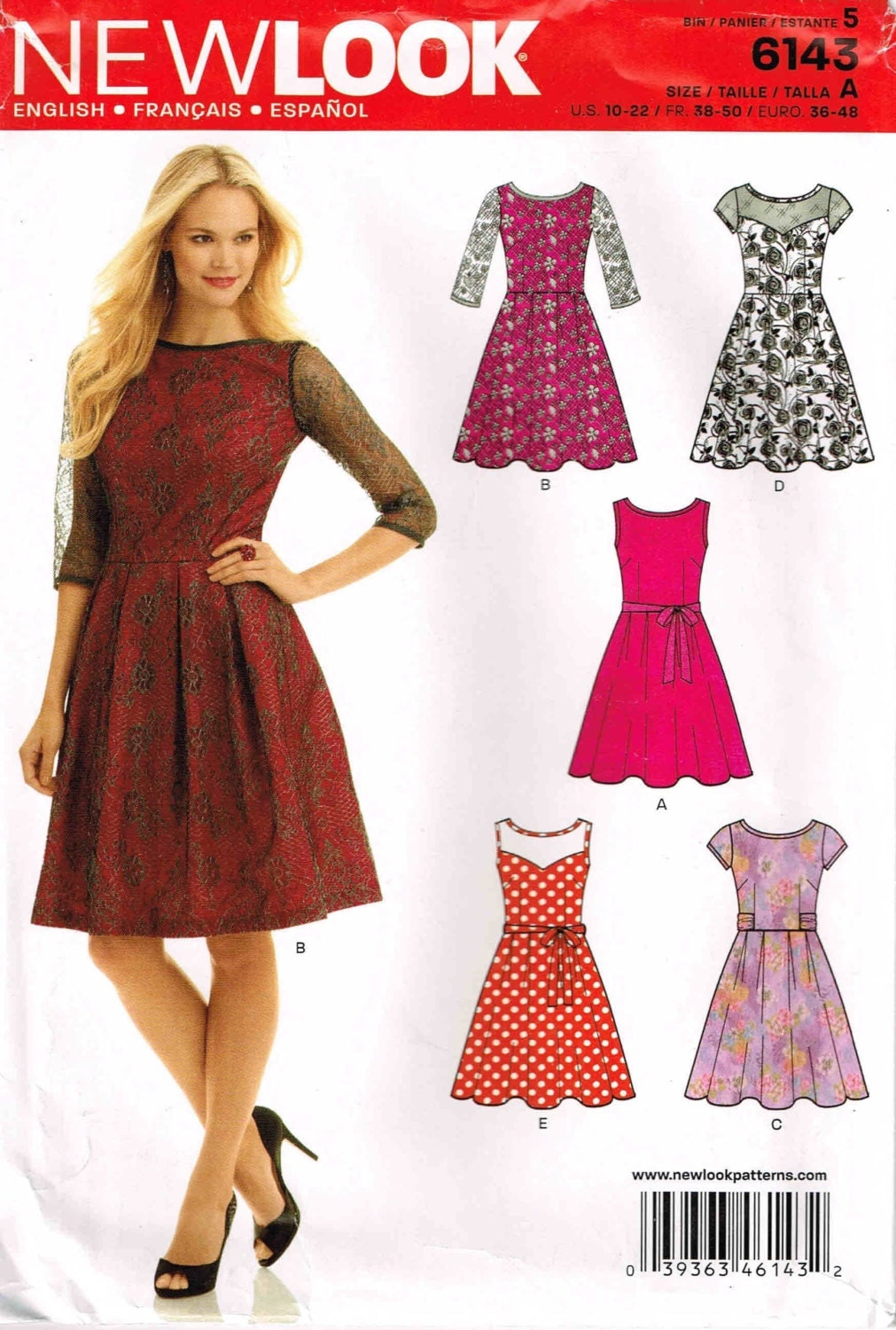 fitted dress pleated skirt new look 6143 sewing pattern size