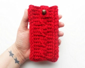 Cable Stitch iPhone Cozy in Red, MADE TO ORDER.