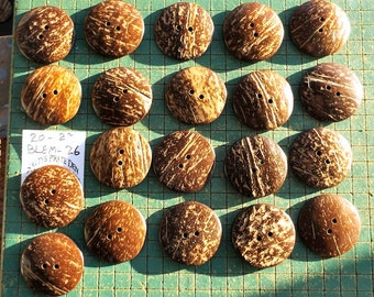 Large Coconut Buttons, 20 count,  2 inch, natural coconut shell, XXL , blemished buttons,   WYSIWYG bag BLEM-26
