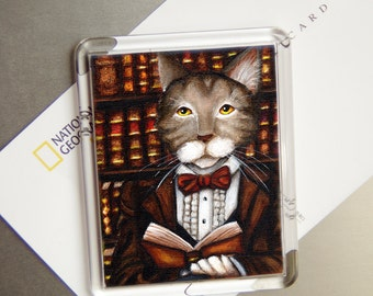 Literary Cat Magnet, Brown Tabby Cat Reading Book, Ashley Wilkes Refrigerator Magnet