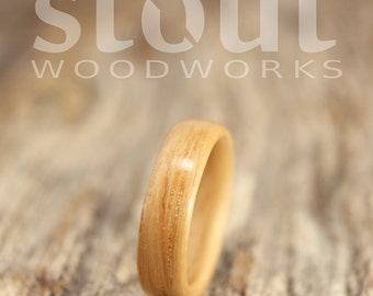 SIZE 5 - Classic White Oak Bentwood Ring - Handcrafted Wooden Ring