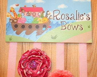 HAIR BOW HOLDER - Personalized Noah's Ark HairBow Holder - Bows and Clippies Organizer - Girls Hair Bow and Clip Hanger Hb0070