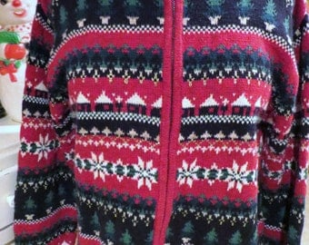 Ugly Christmas Sweater - Row After Row of Holiday Happiness -Red Cardi - Sz M- Same Day Shipping - Unisex - Ugly Sweater Party