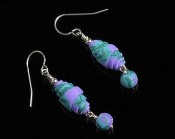 Blue & Purple Rolled Bead Dangle Earrings - Purple Blue Polymer Clay Jewelry - Colorful Drop Earrings - Unique Jewelry Gift for Women
