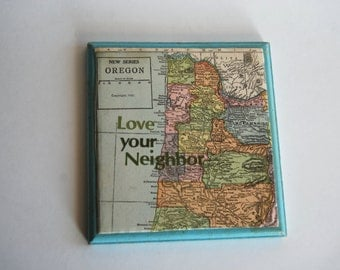 Vintage Wall Art, Oregon Map, Love Your Neighbor