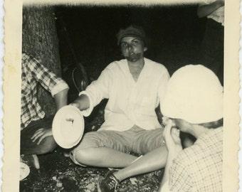 1950s Teen Girl with FAKE BEARD - Summer Camp -  snapshot 443-A