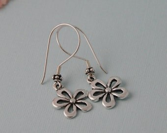 Flower earrings, sterling silver ear wires