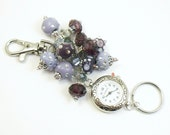 Bold Purple Crystal and Glass and Rhinestone Cluster Beaded Key Chain, Purse Embellishment, Zipper Pull with Geneva Watch Face