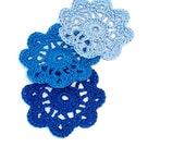 Mini Crochet Doilies in Shades of Blue Applique Embellishment
