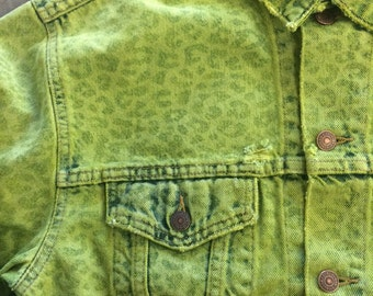 The Vintage Levi's Neon Green Leopard Print Lasered Dyed Denim Jacket