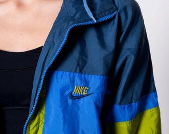 The Vintage Blue & Green Nike Zip Up Swishy Jacket
