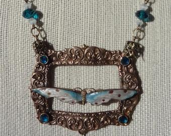 SALE--Art Nouveau Enamel Dragonfly Necklace