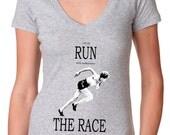 womens shirts - running shirt - Christian shirt - running tshirt - Bible shirt -Bible verse - Christian gifts - RUN THE RACE - deep v-neck