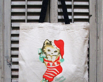tote bag canvas - cat tote - cat tote bag - Christmas bags -Christmas tote -Christmas tote bag -Christmas gifts -A MEOWY CHRISTMAS -tote bag