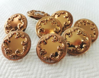 Milk Chocolate Metal Vintage Buttons - 8 in Your Choice of Sizes