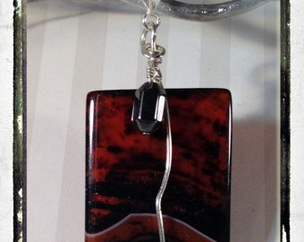 "Deep Red-Brown Striped Agate Stone with Hematite Reversible Pendant Sterling Silver Wire-Wrapped and Comes with 18"" Silver Chain"