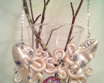 Best Friends And Lovers Octopus And Squid Necklace, Handmade, Polymer clay