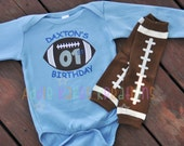 Personalized First Birthday Football Baby Bodysuit and Leg Warmer Set