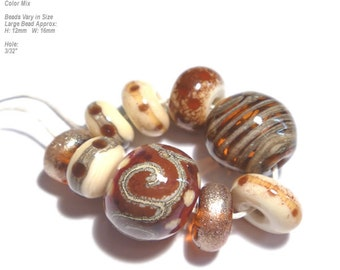 COLLECTION 56  Lampwork Bead Set Handmade Ivory Sienna Brown Warm Mix in Organic Design