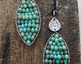 Peruvian Opal Earrings, Wire Wrapped Mosaic Earrings, Opal Drop Earrings, Aqua Blue Opal Earrings, Bohemian Gypsy Earrings
