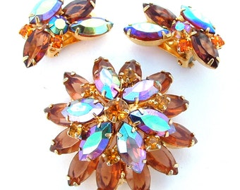 Amber Rhinestone Brooch Earring Vintage Jewelry Set, Rhinestone Brooch, Rhinestone Earrings, Aurora Borealis Bridal Party Just Because Gifts