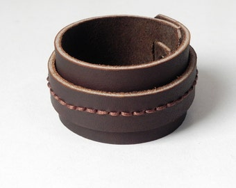 Brown Leather Cuff Brown Leather Bracelet Handmade Cuff